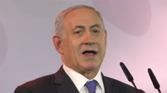 PM Netanyahu meets with the Foreign Press, media, journalists Stock Footage
