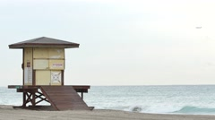Lifeguard tower on the beach Stock Footage