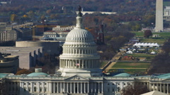 Close flight past the Capitol with the Mall, Washington Monument, Smithsonian Stock Footage
