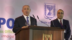 PM Netanyahu, Ron Paz meet with the Foreign Press and diplomats Stock Footage