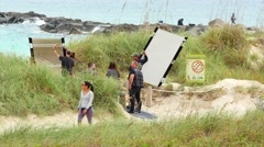 On location movie shoot Miami Beach Stock Footage
