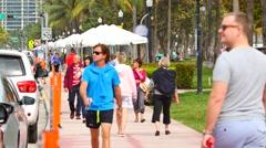 People walking on Ocean Drive - stock footage