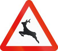Road sign used in Spain - Passage of wild animals - stock illustration