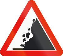 Road sign used in Spain - Falling rocks on the right Stock Illustration