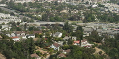 View from Mulholland Drive of houses on hillside overlooking Universal City, - stock footage