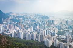 Residential and business area of east Hong Kong - stock photo