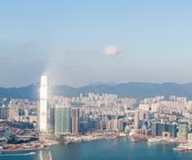 Panorama of Hong Kong Harbour in vintage tone Stock Photos