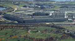 Over Arlington National Cemetery, flying past the Pentagon. Shot in November Stock Footage