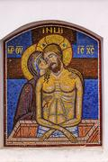 Pieta Mary Jesus Mosaic Holy Assumption Pechersk Lavra Cathedral Kiev Ukraine - stock photo