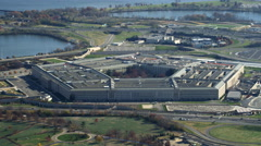 Zoom-out on the Pentagon, revealing Columbia Island Marina and Potomac River. Stock Footage