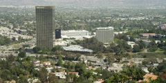Universal City and residential area viewed from Mulholland Drive, Los Angeles - stock footage