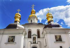Blessed Virgin Holy Assumption Pechrsk Lavra Cathedral Kiev Ukraine Church - stock photo