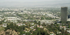 Residential area around Universal City viewed from Mulholland Drive, Los Angeles Stock Footage