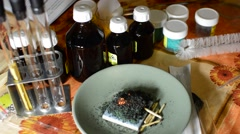 Stock Video Footage of We Perform Chemical Experiments - Mix Reagents ignite, see the result
