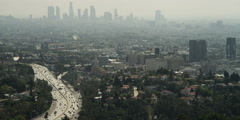 Stock Video Footage of View from Hollywood Bowl Overlook on Mulholland Drive: Highway 101 at right,
