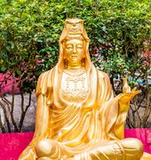 God statue in Hong Kong Buddhism Temple Stock Photos