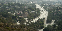 Stock Video Footage of Highway 101 in Los Angeles, viewed from Hollywood Bowl Overlook