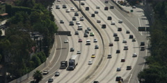 Highway 101 in Los Angeles near Cahuenga Boulevard and Vine Street exits, viewed Stock Footage