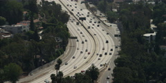Stock Video Footage of Highway 101 in Los Angeles near Cahuenga Boulevard and Vine Street exits, viewed
