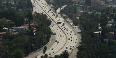Highway 101 in Los Angeles near Cahuenga Boulevard and Vine Street exits, seen - stock footage