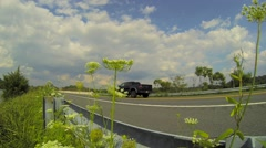 Cars Drive By Flowers Stock Footage