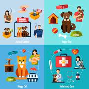 Animal shelter set - stock illustration