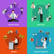Office Syndrome 2x2 Design Concept Stock Illustration