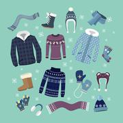 Set of Warm Winter Clothes Design Stock Illustration