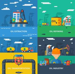 Oil industry flat set - stock illustration