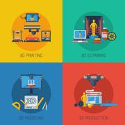 3D Printing Flat Icons Square Composition Stock Illustration