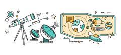 Stock Illustration of Telescope, Celestial Bodies Onstellation Sun
