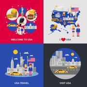 USA Culture 4 Flat Icons Square Stock Illustration
