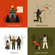 Terrorism design concept set - stock illustration