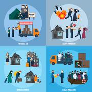Stock Illustration of Stateless refugees set