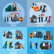 Stateless refugees set Stock Illustration