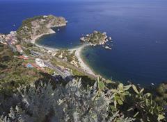 Taormina, Sicily: Isola Bella (beautiful island) seen from above - stock photo