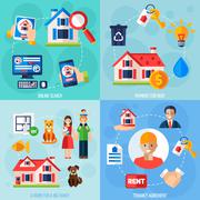 Rent and tenancy icons set Stock Illustration