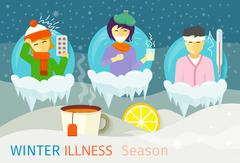 Winter Illness Season People Design Stock Illustration