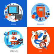 Creative Design Concept Icons Set Stock Illustration