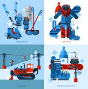 Skiing 2x2 Design Concept - stock illustration