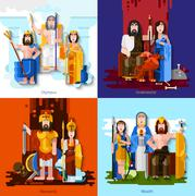 Olympic Gods 2x2 Cartoon Concept Stock Illustration