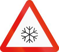 Road sign used in Spain - Pavement slippery with ice or snow - stock illustration
