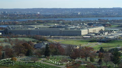 Flying over Arlington Cemetery past Pentagon; US Air Force Memorial passing - stock footage