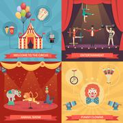 Circus Show 2x2 Design Concept - stock illustration