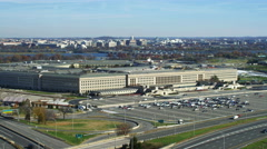 Approaching the Pentagon from the west; Washington DC in background. Shot in - stock footage