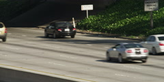 Traffic on California Highway 134 to Pasadena, seen from overpass in Glendale Stock Footage