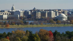 Jefferson Memorial with Potomac in foreground and Washing DC skyline in rear. Stock Footage