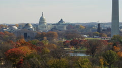 Widening view over the National Mall; Lincoln Memorial and Arlington Memorial Stock Footage