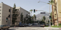Traffic at the corner of North Louise Street and Monterey Road in Glendale, - stock footage