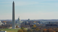 Slow flight right to left past the National Mall, Washington Monument passing in Stock Footage